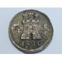 1821 - FERNANDO VII - 1/4  DE REAL - GUATEMALA