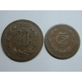 1925 - 1935 -  MEXICO-  5 y  20 CENTAVOS  - SILVER BULLION COINS - ESTADOS UNIDOS MEXICANOS