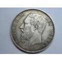 1876 - BELGICA - 5 FRANCS - LEOPOLDO II - PLATA