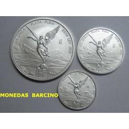 2019 - MEXICO - LOTE 3 MONEDAS  ONZAS- LIBERTAD  PLATA-monedasbarcino.com
