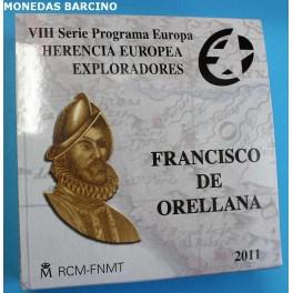 2011 - ESPAÑA - 10 EURO PLATA - 200 EUROS ORO -PALMA - FRANCISCO DE ORELLANA - 2 MONEDAS
