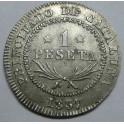 1837 ISABEL II - 1 PESETA - BARCELONA. monedasbarcino.com