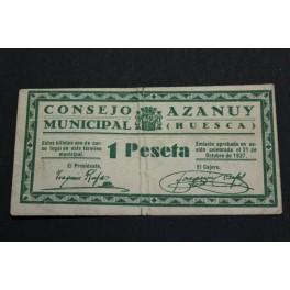 1937 - AZANUY  - 1 PESETA - HUESCA  - BILLETE