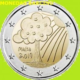 2019 - MALTA - 2 EUROS - NATURALEZA - ARBOL- CONMEMORATIVA