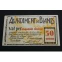 1937 - BLANES - 50 CENTIMOS - GIRONA - GERONA -BILLETE PUEBLO