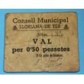 LLORIANA DEL TER - 0,50 PESETAS - BARCELONA - BILLETE PUEBLO