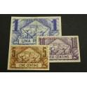 1936 - BARCELONA  - 5 y 10 CENTIMOS- 1 PESETA - CATALUÑA - 3 BILLETE