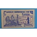 1937 LORCA - MURCIA - 1 PESETA - BILLETE PAPEL MONEDA