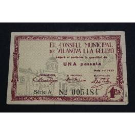 1937 - VILANOVA I LA GELTRÚ - 1 PESETA - BARCELONA -BILLETE PUEBLO