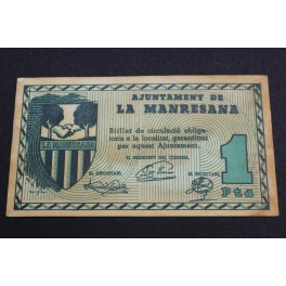 MANRESANA - 1 PESETA - BARCELONA -BILLETE PAPEL MONEDA