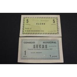 1937 - ELCHE - 5 CENTIMOS - 1 PESETAS - ALICANTE - BILLETE PAPEL MONEDA