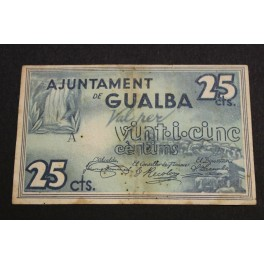 1937 GUALDA - 25 CENTIMOS - BARCELONA -BILLETE PAPEL MONEDA