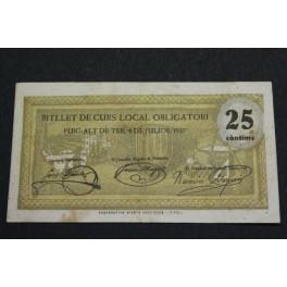 1937 PUIG-ALT DE TER  - 25 CENTIMOS - GIRONA - GERONA -BILLETE PUEBLO