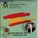 2010 - ESPAÑA - 20 -10 EUROS PLATA - ORO -CAMPEONES DEL MUNDO- FUTBOL-monedasbarcino
