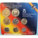 2001 -  ESPAÑA -  PESETAS - 8 MONEDAS - CARTERA
