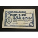 1937 - HOSTALRIC - 1 PESETA - GERONA  -PAPEL MONEDA-monedasbarcino