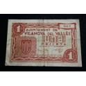 1937 - VILANOVA DEL VALLES - 1 PESETA  -PAPEL MONEDA