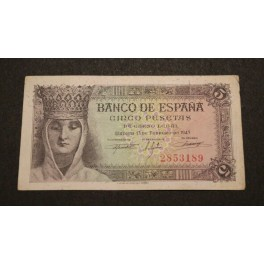 1943 ESPAÑA - 5 PESETAS - MADRID - BILLETE -FRANCISCO FRANCO
