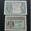 1938 - ESPAÑA -1 + 2 PESETA - AÑO TRIUNFAL -  BURGOS -BILLETE