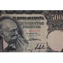1951- ESPAÑA - 500 PESETAS  - BENLLUIRE - BILLETE -ESTADO ESPAÑOL