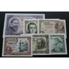1948-1951-1953-1954 ESPAÑA -1-5-25 PESETAS - MADRID- 6 BILLETE