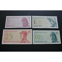 1964 INDONESIA - 1+5+10+ 25 SEN- BANK - 4  BILLETE