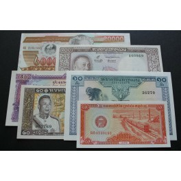 1962-2003  LAOS - KIP -  6 BILLETE DIFERENTES