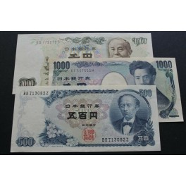 1963 JAPON- 500-1000 YEN - JAPAN -3  BILLETE