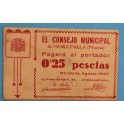 1937 MORATALLA - MURCIA - 0,25 PESETAS - BILLETE PAPEL MONEDA