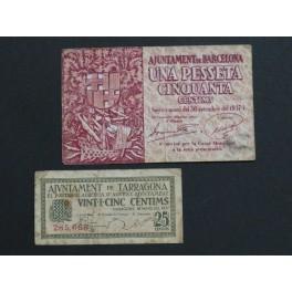 1937- BARCELONA - TARRAGONA - 1,50 PESETAS - 25 CENTIMOS- BILLETE PAPEL MONEDA