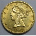 1904 - 5 DOLLARS - ESTADOS UNIDOS  -LIBERTY HEAD