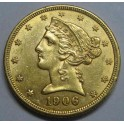 1906 - 5 DOLLARS - ESTADOS UNIDOS  -LIBERTY HEAD