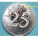2013 - CANADA - 5  DOLLARS - 25 ANIVERSARIO MAPLE - HOJA