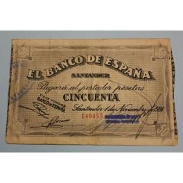 1936 - SANTANDER - 50 PESETAS - BANCO ESPAÑA