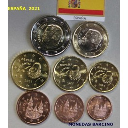 2021 - ESPAÑA -  EUROS - 8 MONEDAS- FELIPE VI