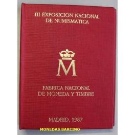 1987-ESPAÑA - PESETAS - E 87 - CARTERITA - EXPOSICION NUMISMATICA