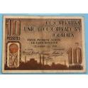 1938 - IGUALADA - BARCELONA - COOPERATIVA UNION - 10 PESETAS - BILLETE