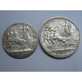 1913 - 1914 - ITALIA - 1 y 2 LIRAS  -  EMANUELE III -ITALILY -  PLATA