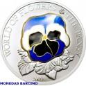 2009 - COOK ISLANDS -  ONZA -5  DOLLAR - FLOR PENSAMIENTO - PANSY MORADA-PLATA