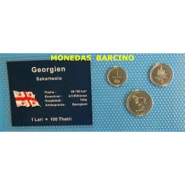 1993 - GEORGIA - GEORGIEN - 1 LARI - 100 THETRI - 3 MONEDAS COINCARD-monedasbarcino.com