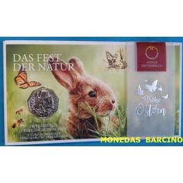 2019 - AUSTRIA - 5 EUROS - PLATA - PASCUA  CONEJO - OSTERREICH -MUNZE-monedasbarcino.com