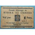 1937 - RIBERA DE CARDOS - 1 PESETA - LLEIDA - BILLETE PUEBLO-monedasbarcino.com