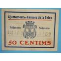 1937 - FARNERS DE LA SELVA - 50 CENTIMOS - GIRONA - BILLETE PUEBLO