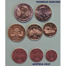 2019 - AUSTRIA - EUROS - COLECCION 8 MONEDAS  EN TIRA - MUNZE OSTERREICH