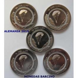 2019 - ALEMANIA - 10 EUROS - 5 MONEDAS DEUTSCHLAND 5 CECAS - AIRE PARACAIDISMO