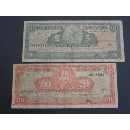 1968 NICARAGUA - 5 y 20 CORONAS - 2 BILLETES - BANKNOTE